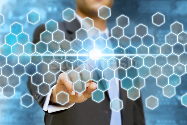 ビジネスマン 不可能 ソリューション 触れる デジタル インターフェース ストックフォト © sdecoret