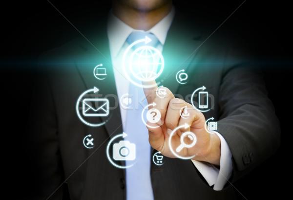 Empresario multimedia interfaz dedos negocios ordenador Foto stock © sdecoret