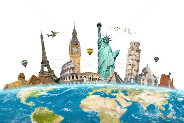 Célèbre monuments monde ensemble planète terre monde Photo stock © sdecoret