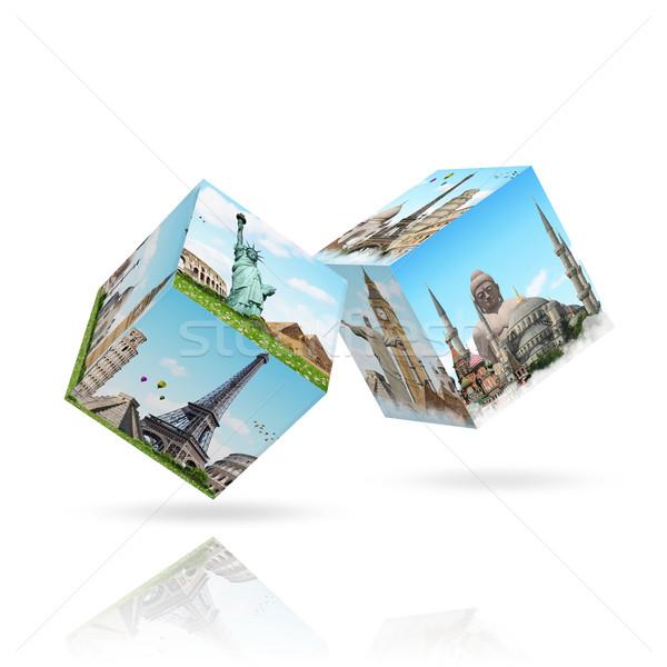 Illustration célèbre monuments monde terre été Photo stock © sdecoret