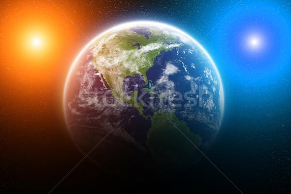Gündoğumu dünya gezegeni uzay görmek güneş gün batımı Stok fotoğraf © sdecoret