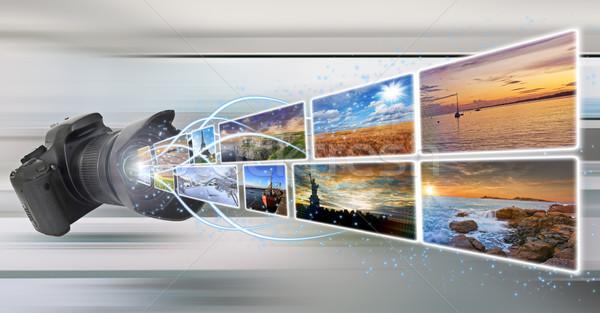 Kamera elvesz képek illusztráció ki kameralencse Stock fotó © sdecoret