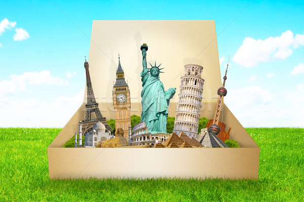 ünlü anıtlar dünya birlikte kutu dünya Stok fotoğraf © sdecoret