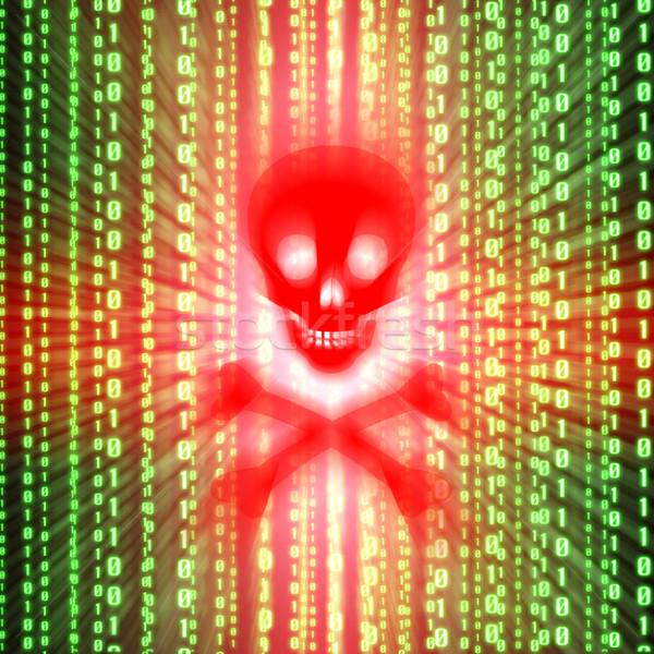 Virüs uyarmak kırmızı yeşil ikili kod bilgisayar Stok fotoğraf © sdecoret