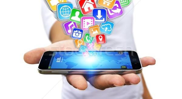 Businessman using modern mobile phone Stock photo © sdecoret