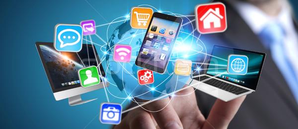 Zakenman tech multimedia Stockfoto © sdecoret