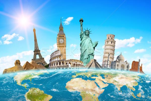 Famoso monumentos mundo juntos planeta terra globo Foto stock © sdecoret