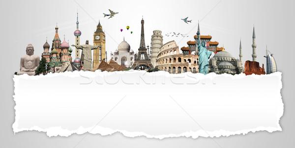 Illustration célèbre monde monuments terre été Photo stock © sdecoret
