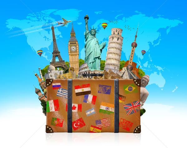 путешествия сумку полный известный Мир памятники Сток-фото © sdecoret