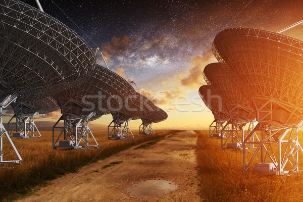 Stock photo: Radio Telescope view at night