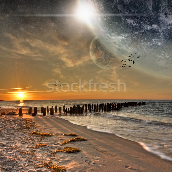 Praia planeta paisagem belo outro mundo Foto stock © sdecoret