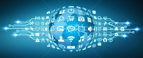 Digital mundo iconos de la web web tierra moderna Foto stock © sdecoret