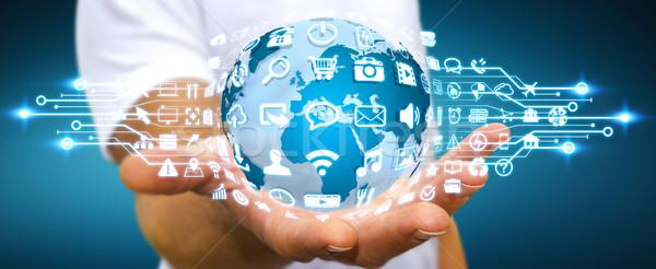 бизнесмен цифровой Мир веб-иконы веб Сток-фото © sdecoret