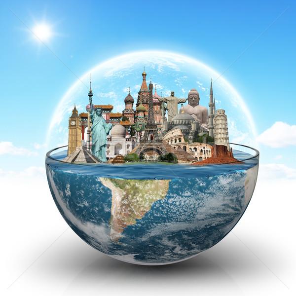 Monumentos mundo vidro água ilustração famoso Foto stock © sdecoret