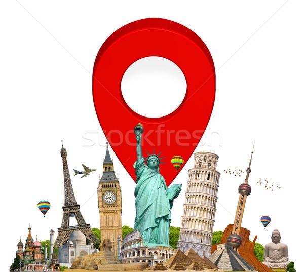 Anıtlar dünya pin işaretleyici ikon ünlü Stok fotoğraf © sdecoret