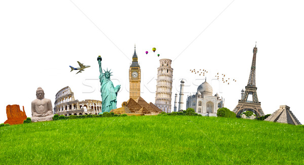 Famous monuments of the world surrounding green grass on white b Stock photo © sdecoret