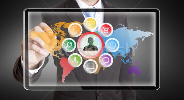 Empresário multimídia interface dedos negócio computador Foto stock © sdecoret