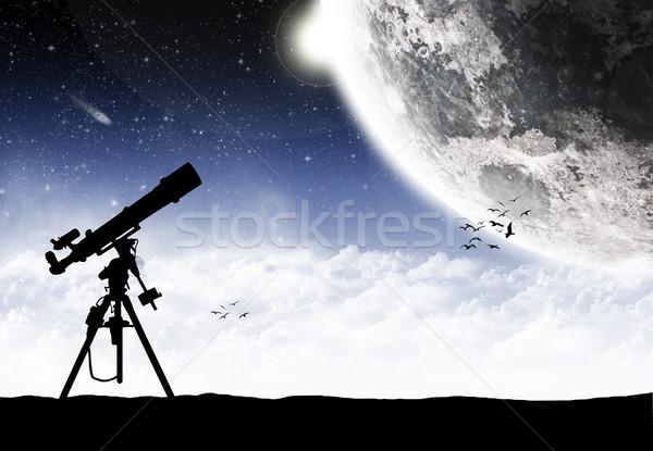 Foto stock: Telescopio · viendo · manera · ilustración · cielo · mundo