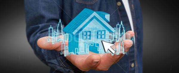 Empresário imóveis digital casa cidade voador Foto stock © sdecoret