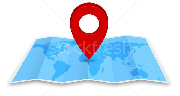 Pin карта синий маркер икона Мир карта Сток-фото © sdecoret