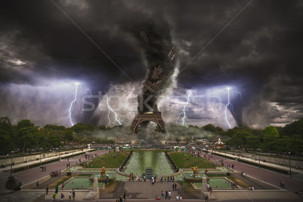 Large tornados destroying the Eiffel Tower Stock photo © sdecoret