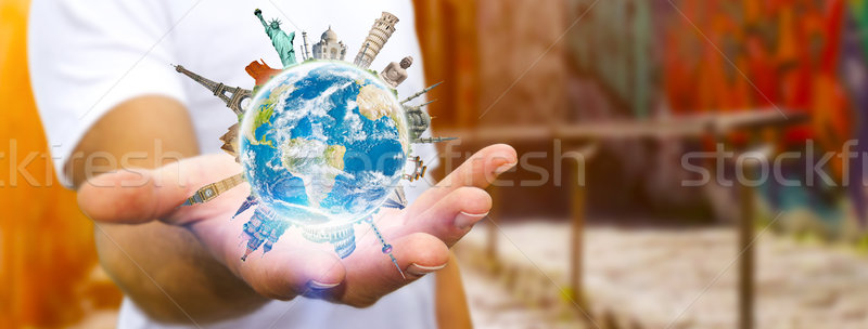 Homme monde jeune homme planète terre Photo stock © sdecoret