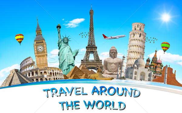 Famoso monumentos mundo globo terra verão Foto stock © sdecoret