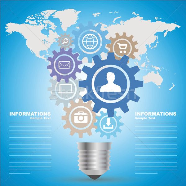 Business gloeilamp idee kleurrijk technologie Stockfoto © sdecoret