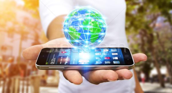 Photo stock: Affaires · surf · internet · modernes · téléphone · portable · main