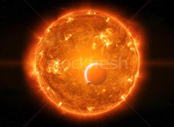 Sonne Raum schließen Planeten Erde Mond Himmel Stock foto © sdecoret