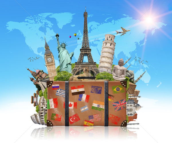 Stock photo: illustration of a suitcase full of famous monument