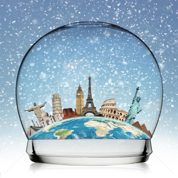 памятники Мир снежный ком иллюстрация известный снега Сток-фото © sdecoret