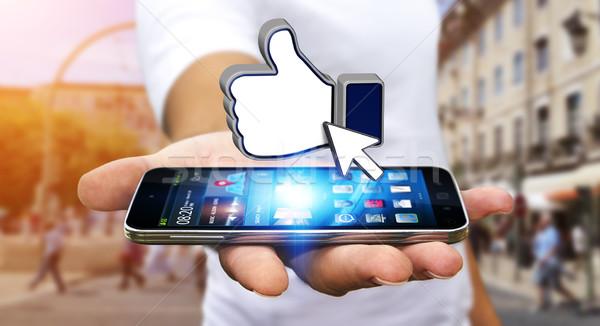 бизнесмен современных мобильного телефона стороны человека Сток-фото © sdecoret