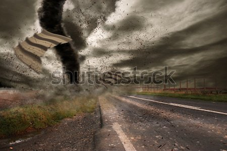 Stock photo: Large Tornado disaster on a road