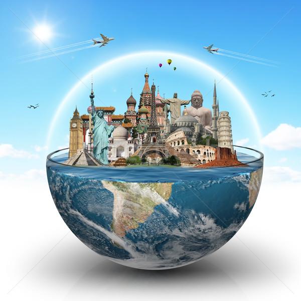 Anıtlar dünya cam su örnek ünlü Stok fotoğraf © sdecoret