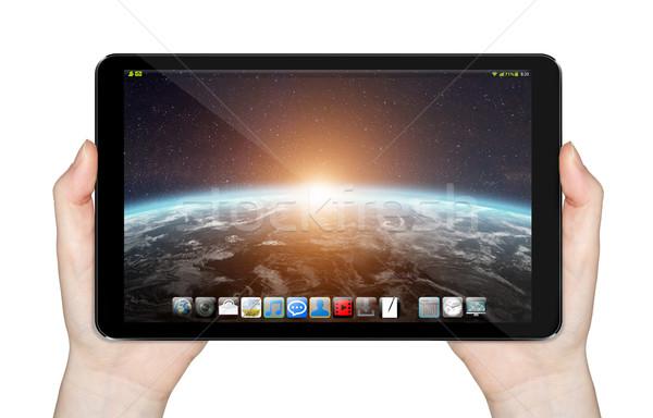Modern digitális tabletta fehér üzlet számítógép Stock fotó © sdecoret