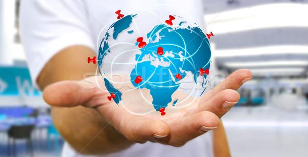 Сток-фото: бизнесмен · цифровой · Мир · карта · рук