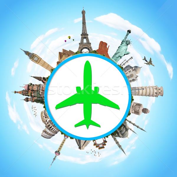 Illusztráció híres világ műemlékek repülőgép ikon Stock fotó © sdecoret