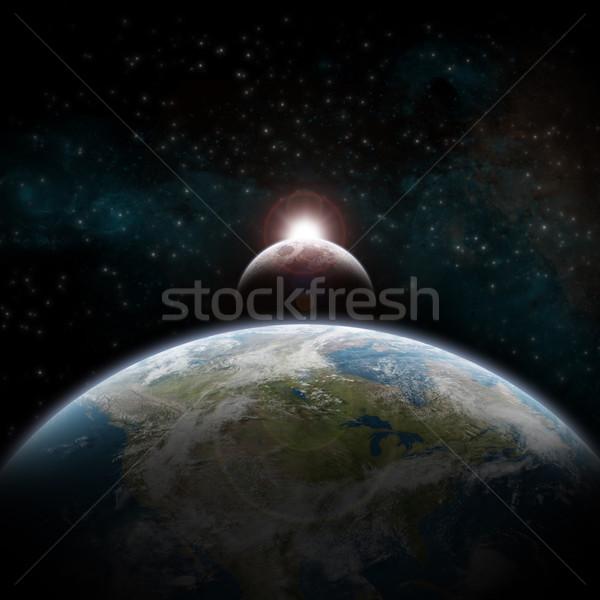 затмение планете Земля мнение мира солнце свет Сток-фото © sdecoret