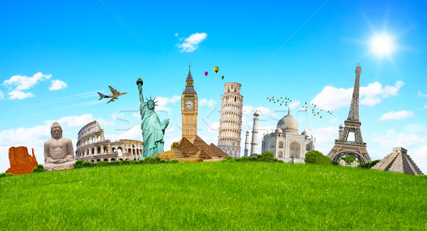 Famoso monumentos mundo hierba verde junto hierba Foto stock © sdecoret