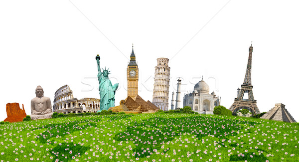 Stok fotoğraf: ünlü · anıtlar · dünya · yeşil · ot · beyaz · birlikte