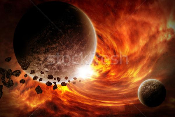 Meteorite pianeta spazio view cielo mondo Foto d'archivio © sdecoret