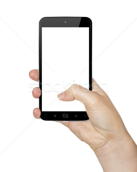 Hand with mobile phone Stock photo © sdecoret