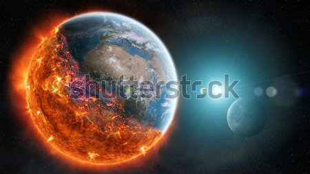 Sunrise over planet in space Stock photo © sdecoret