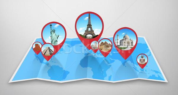 Monumentos mapa do mundo famoso mundo juntos mapa Foto stock © sdecoret