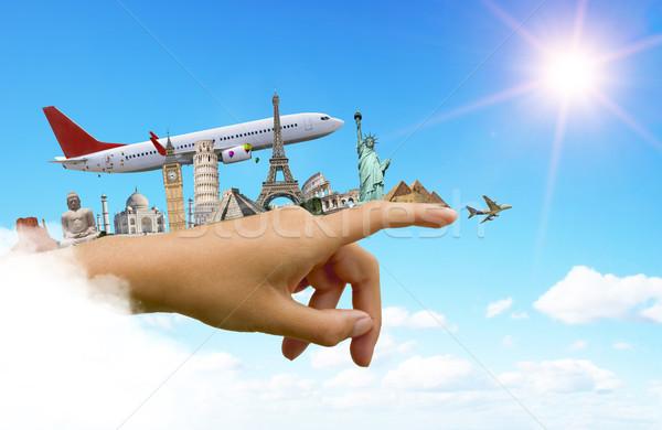 Műemlékek világ nő kéz illusztráció híres Stock fotó © sdecoret