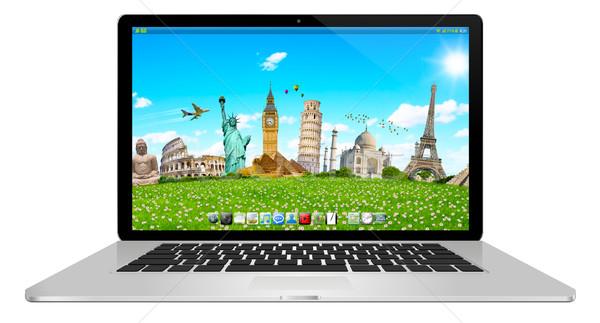 Moderne laptop witte digitale zilver zwarte Stockfoto © sdecoret