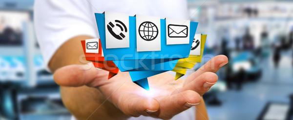 Imprenditore moderno digitale origami icona applicazione Foto d'archivio © sdecoret