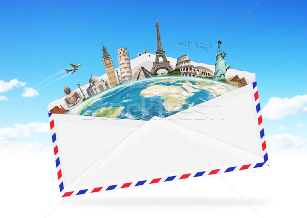 illustration of an envelope full of famous monument Stock photo © sdecoret