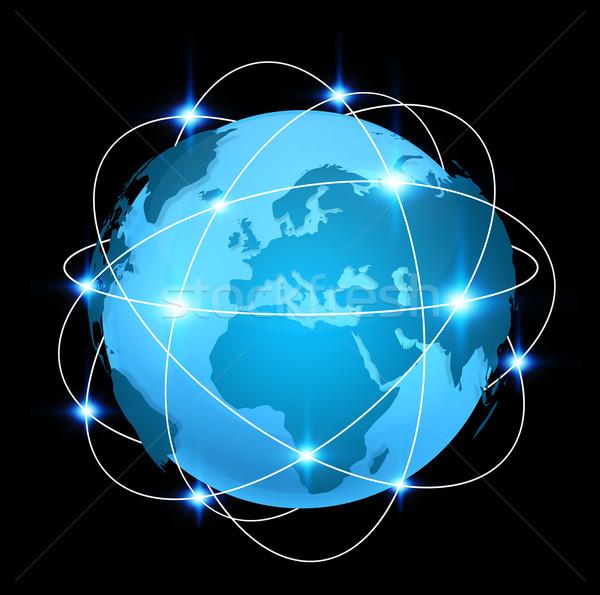 Bleu numérique carte du monde connexion différent Photo stock © sdecoret